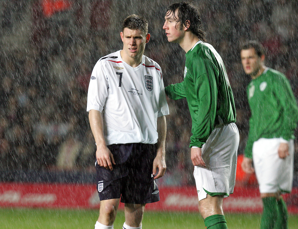 James Milner of England in heavy rain. England v Republic of Ireland, Uefa Under-21 Championship Qualifier, Tuesday 5th February 2008, St Marys, Southampton.