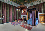 Queen's Bedchamber, where the Queen's business took place, hung with drapes and with a four poster bed, in Stirling Castle, with current buildings dating to 15th and 16th centuries, on Castle Hill, in Stirling, Scotland. This room has been furnished as it was during the Regency of Mary of Guise. The castle is listed as a scheduled ancient monument and is run by Historic Environment Scotland. Picture by Manuel Cohen