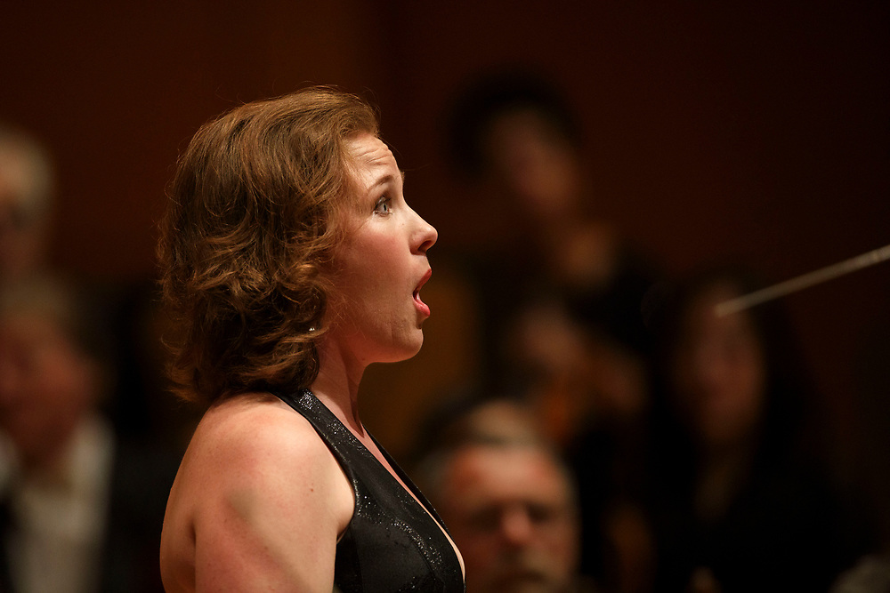 Mezzo-soprano Sasha Cooke sings a solo performance during the LA Philharmonic at the Walt Disney Concert Hall on Thursday, May 18, 2017 in Los Angeles, Calif. The evening's performance featured Gustavo Dudamel's Schubert symphony as well as a tribute to outgoing president Deborah Borda, followed by a solo vocal from mezzo-soprano Sasha Cooke. © 2017 Patrick T. Fallon