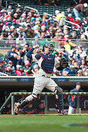 Joe Mauer #7 of the Minnesota Twins throws between innings of a game against the Detroit Tigers on April 3, 2013 at Target Field in Minneapolis, Minnesota.  The Twins defeated the Tigers 3 to 2.  Photo: Ben Krause