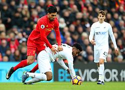 Emre Can of Liverpool battles with Leroy Fer of Swansea  - Mandatory by-line: Matt McNulty/JMP - 21/01/2017 - FOOTBALL - Anfield - Liverpool, England - Liverpool v Swansea City - Premier League