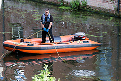 © London News Pictures. FILE PICTURE - 06/10/2016. The body of 20 year-old Ethan Peters was found earlier today (Sun) in the River Foss. Pictured -  Police carry out underwater search of the River Foss in York for missing student Ethan Peters who went missing following a night out in York. Photo credit: Andrew McCaren/LNP
