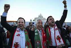 June 15, 2018 - Na - Lisbon, 06/15/2018 - Report on Arena Portugal, installed in the Paço terreiro in Lisbon, where the 2018 World Cup match between Portugal and Spain will be broadcast. Fernando Medina, Marcelo Rebelo de Sousa and Pedro Marques celebrate the goal of the draw  (Credit Image: © Atlantico Press via ZUMA Wire)