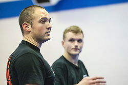 Stef Noij, KMG Instructor from the Institute Krav Maga Netherlands, talking as he takes the IKMS G Level Programme seminar today at the Scottish Martial Arts Centre, Alloa.