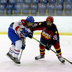 KINGSTON, ON  - FEB 22,  2018: Ontario Junior Hockey League game between the Kingston Voyageurs and the Wellington Dukes. Dorian Overland #72 of the Kingston Voyageurs andMacKenzie Warren #25 of the Wellington Dukes battle for position during the first period.<br /> (Photo by Ian Dixon / OJHL Images)
