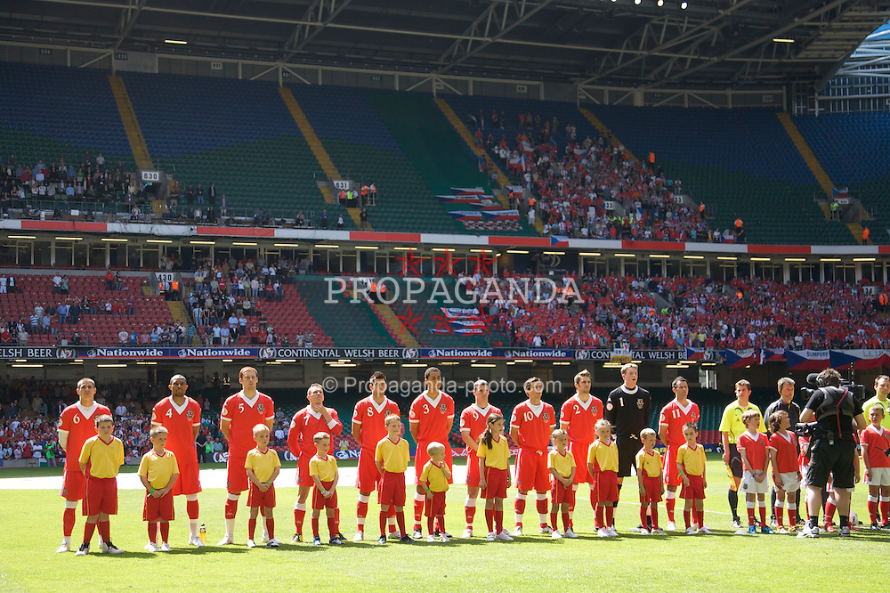 Cardiff, Wales - Saturday, June 2, 2007: Wales' players line-up to face Czech Republic before the UEFA Euro 2008 Qualifying Group D match at the Millennium Stadium. (Pic by David Rawcliffe/Propaganda)
