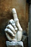 Hand of Constantine, sculpture. Fragment of giant statue of Constantine the Great (c274-337) Roman emperor