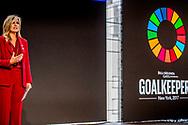 NEW YORK - Koningin Maxima spreekt tijdens Goalkeepers. Maxima is in New York in haar hoedanigheid van speciale pleitbezorger van de secretaris-generaal van de Verenigde Naties voor de jaarlijkse Algemene Vergadering van de Verenigde Naties. ANP ROYAL IMAGES ROBIN UTRECHT **NETHERLANDS ONLY**