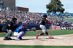 March 18, 2018 - Las Vegas, NV, U.S. - LAS VEGAS, NV - MARCH 18: Francisco Lindor (12) of the Indians hits a pop-fly during a game between the Chicago Cubs and Cleveland Indians as part of Big League Weekend on March 18, 2018 at Cashman Field in Las Vegas, Nevada. (Photo by Jeff Speer/Icon Sportswire) (Credit Image: © Jeff Speer/Icon SMI via ZUMA Press)