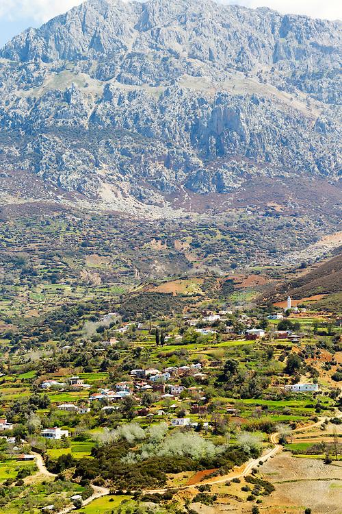 TETOUAN, MOROCCO - 7th April 2016 - Rif Mountain Landscape and mountain scenery surrounding the Tetouan Medina, Rif region of Northern Morocco.