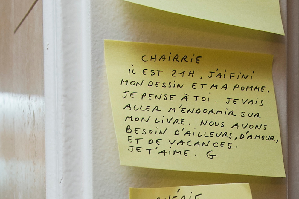 March 6, 2015, Paris, France. Post-it notes decorate the Paris&rsquo; apartment where Georges and Maryse Wolinski lived. French Cartoonist Georges Wolinski (1934 &ndash;2015) wrote daily post-it notes to his wife Maryse Wolinski (1943, Algiers). Two month after the death of Georges Wolinski, the apartment is full of souvenirs and notes, attesting a half-century-long love affair: &quot;Honey, it's 9 o'clock, my drawing and my apple are finished. I think of you. I'm going to fall asleep with my book. We need travel, love and holidays. I love you, G.&quot; <br /> The cartoonist Georges Wolinski was 80 ye<br /> ars old when he was murdered by the French jihadists Ch&eacute;rif en Sa&iuml;d Kouachi, he was one of the 12 victims of the massacre in the Charlie Hebdo offices on Janua<br /> ry 7, 2015 in Paris. Charlie Hebdo published caricatures of Mohammed, considered blasphemous by some Muslims. During his life, Georges Wolinski defended freedom, secularism and humour and was one of the major political cartoonists in France. The couple was married and had lived for 47 years together. Photo: Steven Wassenaar