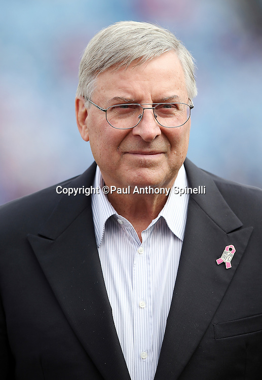 Buffalo Bills Owner/CEO Terry Pegula looks on from the sideline before the 2015 NFL week 4 regular season football game against the New York Giants on Sunday, Oct. 4, 2015 in Orchard Park, N.Y. The Giants won the game 24-10. (©Paul Anthony Spinelli)
