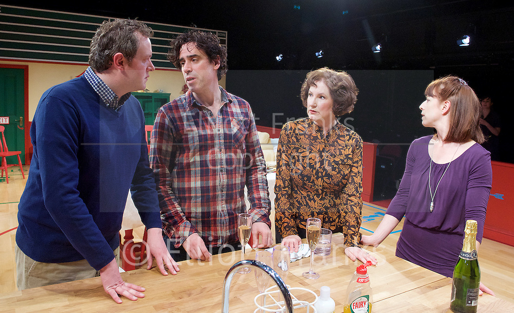 Rules for living <br /> by Sam Holcroft <br /> directed by Marianne Elliott <br /> designed by Chloe Lamford <br /> at the Dorfman Theatre, NT, Southbank, London, Great Britain <br /> press photocall <br /> 23rd March 2015 <br /> <br /> Claude Blakely as Sheena<br /> <br /> Deborah Findlay as Edith <br /> <br /> Miles Jupp as Matthew <br /> <br /> Stephen Mangan as Adam <br /> <br /> <br /> <br /> <br /> <br /> Photograph by Elliott Franks <br /> Image licensed to Elliott Franks Photography Services