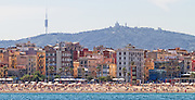 Spain, Barcelona. A view of the coastline from the Balearic Sea.