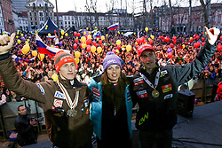 Peter Prevc, Tina Maze and Jakov Fak at reception of Slovenian athletes in winters sports after the end of season 2012/13, on March 19, 2013 in Congress Square, Ljubljana, Slovenia.  (Photo By Vid Ponikvar / Sportida.com)