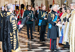 © London News Pictures. 18/06/2015. London, UK. His Royal Highness The Prince of Wales, talks to the members of the clergy,  following a service of commemoration at St Paul's Cathedral to mark the 200th Anniversary of the Battle of Waterloo.  Photo credit: Sergeant Rupert Frere/LNP