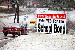 March 6, 2011: Seen here is a sign in Bridgeport that supports the local School Bond for Harrison County. It is located on Johnson Avenue in Bridgeport just before where a new Johnson Elementary will be built along Johnson Ave. (Photo by: Ben Queen)