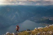 Hiking the Garda Trek over the crown of Lago di Garda, Trentino, Italy