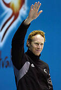 Cameron Gibson (NZL) lines up for the Men's 200m Backstroke Final at the 2006 Commonwealth Games at the Sports and Aquatic Centre, Melbourne, Australia on 18 March, 2006. Photo: Sport the Library / www.photosport.nz