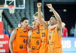 Arvin Slagter of Netherlands, Worthy de Jong of Netherlands, Henk Norel of Netherlands and Mohamed Kherrazi of Netherlands celebrate after winning during basketball match between Georgia and Netherlands at Day 1 in Group C of FIBA Europe Eurobasket 2015, on September 5, 2015, in Arena Zagreb, Croatia. Photo by Vid Ponikvar / Sportida