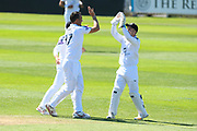 Kyle Abbott of Hampshire celebrates taking the wicket of Marcus Trescothick of Somerset during the Specsavers County Champ Div 1 match between Somerset County Cricket Club and Hampshire County Cricket Club at the Cooper Associates County Ground, Taunton, United Kingdom on 26 May 2017. Photo by Graham Hunt.