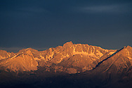 Stormy morning light on east slope of the Sierra Nevada near Bishop, as seen from the White Mountains, CALIFORNIA