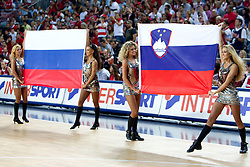 Russian and Slovenian flags during the final basketball match between National teams of Turkey and USA at 2010 FIBA World Championships on September 12, 2010 at the Sinan Erdem Dome in Istanbul, Turkey.  USA defeated Turkey 81 - 64 and became World Champion 2010. (Photo By Vid Ponikvar / Sportida.com)
