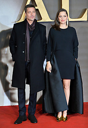 © Licensed to London News Pictures. 21/11/2016. London, UK. BRAD PITT, and  MARION COTILLARD attend  the Allied UK film premiere at Odeon Leicester Square, London. The film follows two assassins who fall in love during a mission to kill a Nazi official during World War II. Photo credit: Ray Tang/LNP
