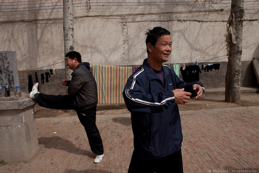 Students trainning outdoors at  the Taijiquan school in Chenjiagou village