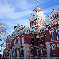 Photo of Lake County Courthouse in Crown Point Indiana. The Lake County Courthouse was built in 1878 and is nicknamed The Grand Old Lady. The courthouse architecture is Romanesque and Georgian. Today it's used for events and has a ballroom and restaurants.