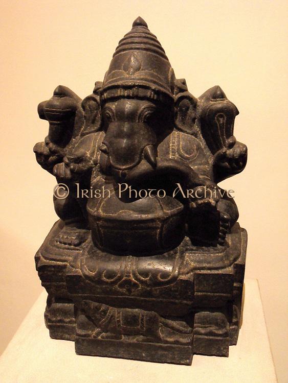 black polished granite sculpture of the Hindu god Ganesha; Dravidian