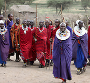 Africa, Tanzania, Maasai tribe an ethnic group of semi-nomadic people. A group in traditional dance