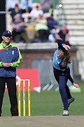 The unusual action of Yorkshire Diamonds Helen Fenby  during the Vitality T20 Blast North Group match between Lancashire Thunder and Yorkshire Vikings at Liverpool Cricket Club, Liverpool, United Kingdom on 13 August 2019.
