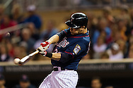 Justin Morneau (33) bats during a game against the Detroit Tigers on August 14, 2012 at Target Field in Minneapolis, Minnesota.  The Tigers defeated the Twins 8 to 4.  Photo: Ben Krause