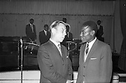 13/06/1963<br /> 06/13/1963<br /> 13 June 1963<br /> Coras Trachtala Reception for  the West Indian Cricket team at the Gresham Hotel Dublin.  Pictured are Mr W.H. Walsh, General Manager, Coras Trachtala and Mr. Conrad Hunte, Vice Captain of the W.I. Cricket team.