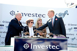 Left to right, BERNARD KANTOR CEO of Investec, CRISTINA PATINO winning owner, DALE KANTOR and trainer EDWARD DUNLOP at the Investec Ladies Day at Epsom Racecourse, Surrey on 4th June 2010.