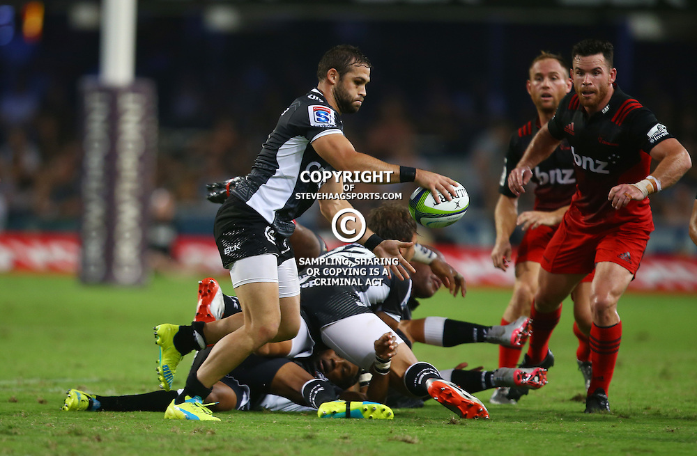 DURBAN, SOUTH AFRICA - MARCH 26:  Cobus Reinach of the Cell C Sharks looks to kick during the Super Rugby match between Cell C Sharks and BNZ Crusaders at Growthpoint Kings Park on March 26, 2016 in Durban, South Africa. (Photo by Steve Haag/Gallo Images)