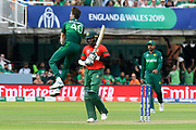 Wicket - Shaheen Afridi of Pakistan leaps in the air as he celebrates taking the wicket of Shakib Al Hasan (vc) of Bangladesh during the ICC Cricket World Cup 2019 match between Pakistan and Bangladesh at Lord's Cricket Ground, St John's Wood, United Kingdom on 5 July 2019.