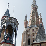 The spire of the Church of Our Lady in Bruges, Belgium. Tower above the historic center of Bruges, it forms one of the city's most distinctive landmarks and can be seen from far away.