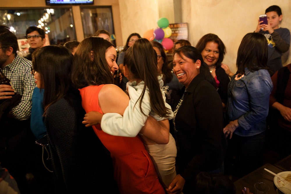 Kelly Gonez is joined by supporters during an LAUSD School Board District 6 election night event for candidate Kelly Gonez at Magaley's Tamales on Tuesday, May 16, 2017 in San Fernando, Calif.   Candidates backed by charter school supporters won their first majority on the Los Angeles Board of Education as Kelly Gonez - a teacher at a charter school - collected more votes than Imelda Padilla to win District 6. © 2017 Patrick T. Fallon