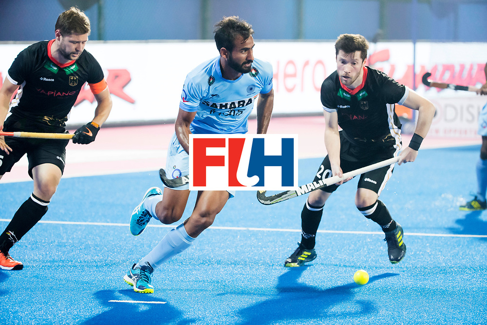 BHUBANESWAR - The Odisha Men's Hockey World League Final . Gurjant Singh (Ind) between Martin Haener (Ger) and Martin Zwicker (Ger)  during  the match India v Germany. WORLDSPORTPICS COPYRIGHT  KOEN SUYK