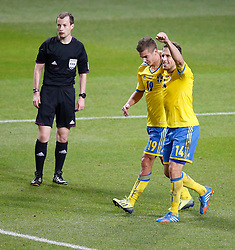 15.10.2013, Friends Arena, Stockholm, SWE, FIFA WM Qualifikation, Schweden vs Deutschland, Gruppe C, im Bild Sverige 19 Alexander Kacaniklic celebrate 2-0 with Sverige 14 Tobias Hys�n Hysen // during the FIFA World Cup Qualifier Group C Match between Sweden and Germany at the Friends Arena, Stockholm, Sweden on 2013/10/15. EXPA Pictures � 2013, PhotoCredit: EXPA/ PicAgency Skycam/ Sami Grahn<br /> <br /> ***** ATTENTION - OUT OF SWE *****