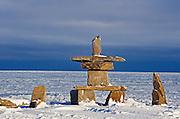 Inukshuk on shore of Hudson Bay <br /> Churchill<br /> Manitoba<br /> Canada