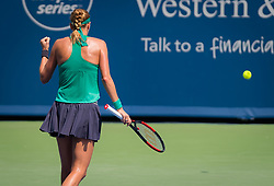 August 18, 2018 - Petra Kvitova of the Czech Republic in action during the semi-final at the 2018 Western & Southern Open WTA Premier 5 tennis tournament. Cincinnati, Ohio, USA. August 18th 2018. (Credit Image: © AFP7 via ZUMA Wire)