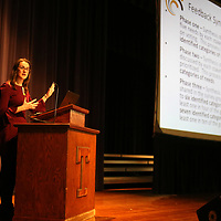 Stewart McMillan, Innovation Program Faciliator for the Tupelo Public School District, explains the phases of the feedback process the district gathered from parents, teachers and the public on Tupelo becoming a district of innovation during a public meeting Tuesday night at the Tupelo Civic Auditorium.