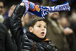 December 22, 2017 - Barcelona, Spain - BARCELONA, SPAIN - DECEMBER 22: RCD Espanyol young fan boy celebrating the victory of his team during the match of La Liga Santander between RCD Espanyol v Atletico de Madrid, at RCD Stadium in Barcelona on 22 of December, 2017. (Credit Image: © Xavier Bonilla/NurPhoto via ZUMA Press)