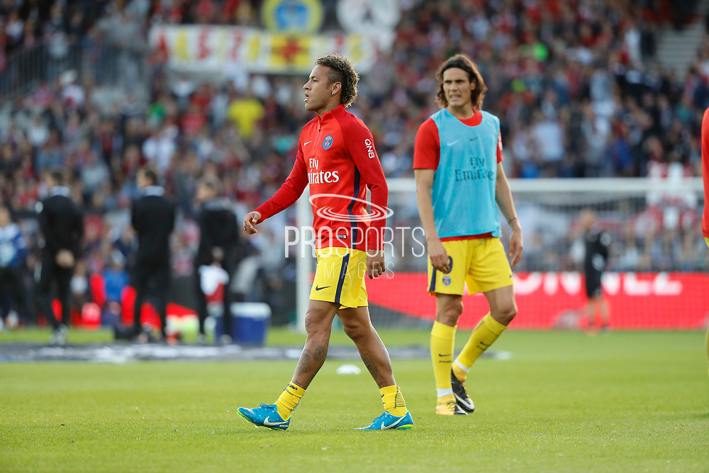 Neymar da Silva Santos Junior - Neymar Jr (PSG), Edinson Roberto Paulo Cavani Gomez (psg) (El Matador) (El Botija) (Florestan) at warm up during the French championship L1 football match between EA Guingamp v Paris Saint-Germain, on August 13, 2017 at the Roudourou stadium in Guingamp, France - Photo Stephane Allaman / ProSportsImages / DPPI