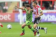 Forest Green Rovers Matty Stevens(9) on the ball during the EFL Sky Bet League 2 match between Exeter City and Forest Green Rovers at St James' Park, Exeter, England on 12 October 2019.