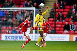 Stefan Payne of Bristol Rovers beats Daniel Pinillos of Barnsley to the ball - Mandatory by-line: Robbie Stephenson/JMP - 27/10/2018 - FOOTBALL - Oakwell Stadium - Barnsley, England - Barnsley v Bristol Rovers - Sky Bet League One