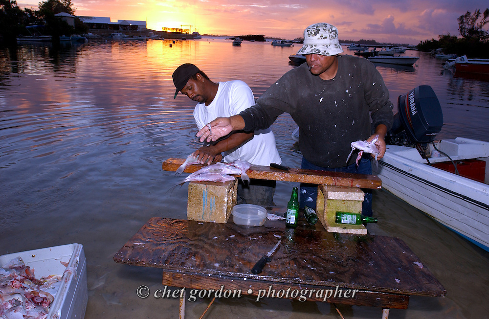 "Bermudian fisherman Neville (left) and ""Snake"" filet ""Bermuda fish"" on a makeshift table in the Spanish Point Park marina near Hamilton, Bermuda on Sunday, October 5, 2003."